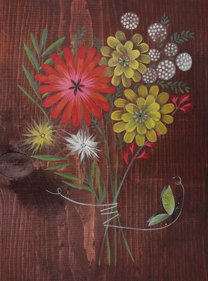 country bouquet | acrylic on stained maple 16 x 20