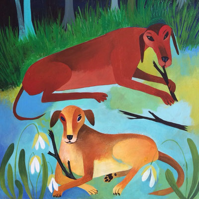 Trout and Koby folk art painting of my own dogs | 12 x 18 on wood