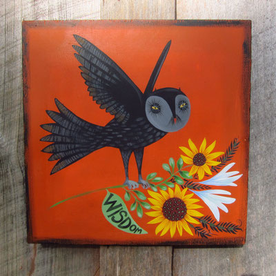 wisdom owl | 12 x 12 acrylic on plywood