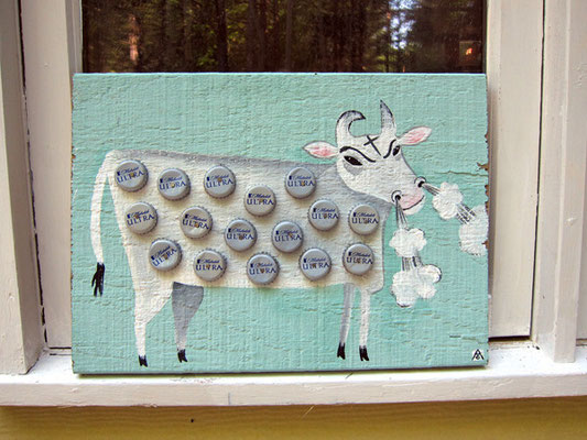 the beer steer |  man cave art | 12 x 18 on old beach house board
