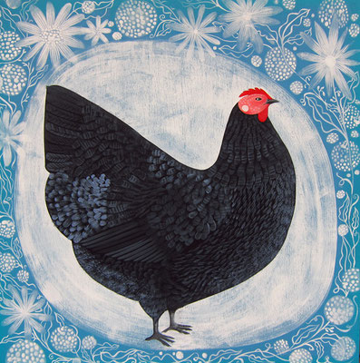 black hen. 24x24 acrylic on plywood