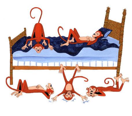 Six Little Monkeys / book illustrations / Client: Dinardo Design