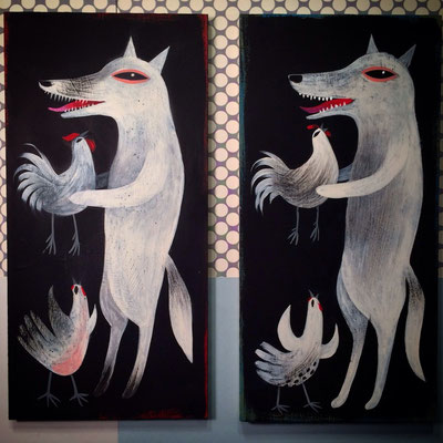 Coyote and Hen | 6 x 12 on maple panel