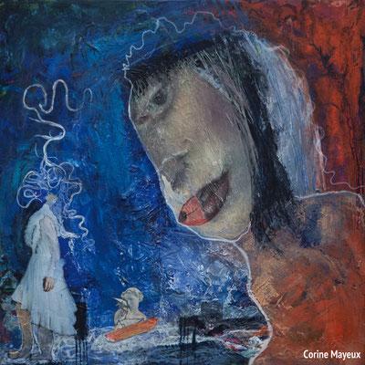Corine Mayeux, peintures et céramiques , 2019 à la chapelle de Profondsart