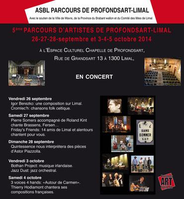2014 5e édition du Parcours d'Artistes de Profondsart-Limal : les concerts
