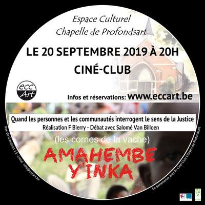 Ciné-club : Amahembe y'inka (Les cornes de la vache)  à la chapelle de Profondsart 2019