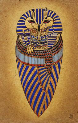 pharaoh  2016 300×200 樹脂版ドライポイント、手彩色