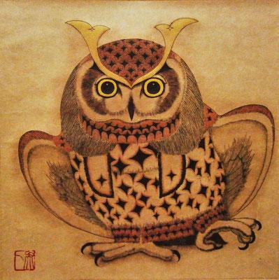 owl warrior -TAWAMURE- (拡大)  220×220 エッチング、ドライポイント