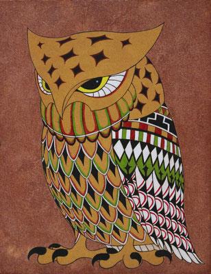 totem owl  2016 F0  楮紙、植物染料、顔料