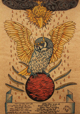 mystic owl  2015 420×295 樹脂版ドライポイント、手彩色 杉皮紙、水性インク