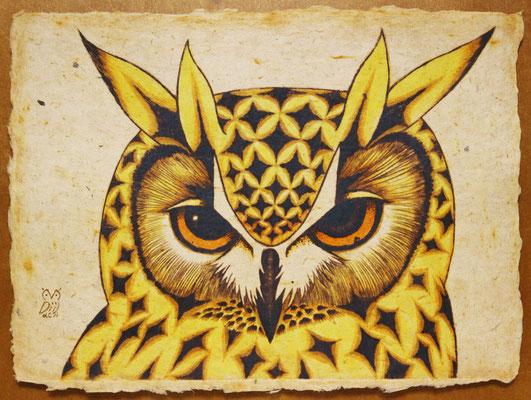 Y horn (yellow)  2016 200×160 樹脂版ドライポイント、手彩色