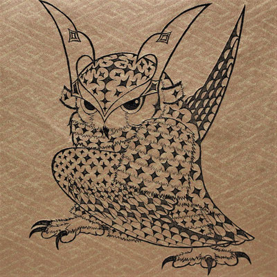 owl warrior -BATTOU- (sayagata)  2017 120×120 エッチング