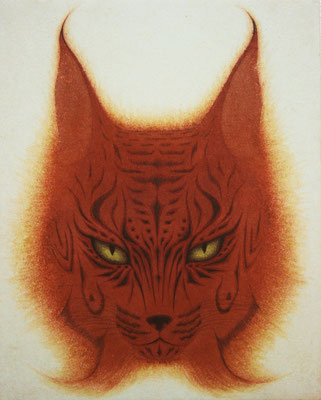 焔猫  2015 F3 土佐麻紙、植物染料、顔料