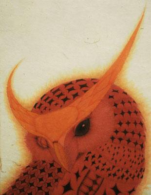 owi warrior -DOKUGAN-  2015 F0 楮紙、植物染料、顔料