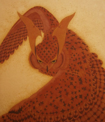 owl warrior -KANZAN-  2014 F10 (53×44.5) 土佐麻紙、植物染料、顔料