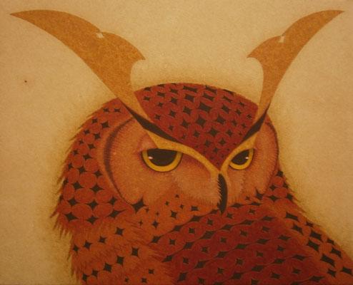 owl warrior -SAMURAI-  2014 F3 土佐麻紙、植物染料、顔料