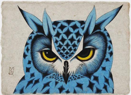 Y horn (blue)  2016 200×160 樹脂版ドライポイント、手彩色