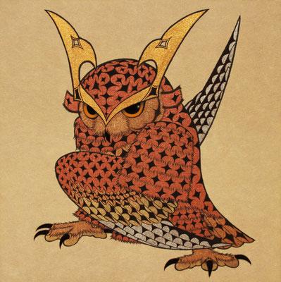 owl warrior -BATTOU-  2016 S0 神郷紙、着色雲母、植物染料