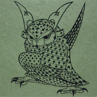 owl warrior -BATTOU- (uguisu)  2017 120×120 エッチング