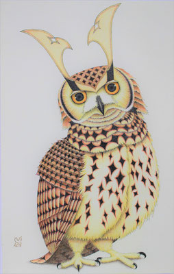 owl warrior -WAKA-  2017 414×265 リトグラフ、手彩色