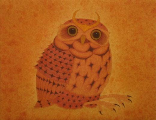 owlet warrior  2014 F0 土佐麻紙、植物染料、顔料