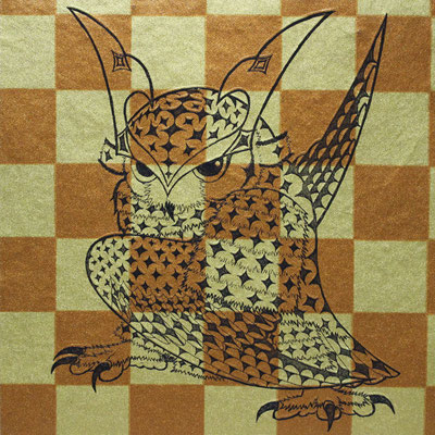 owl warrior -BATTOU- (ichimatsu)  2017 120×120 エッチング