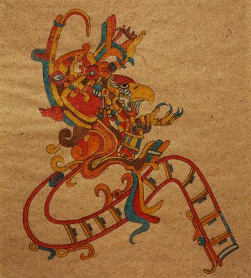 quetzalcoatl  2015 300×280 樹脂版エングレーヴィング、手彩色 杉皮紙、水性インク