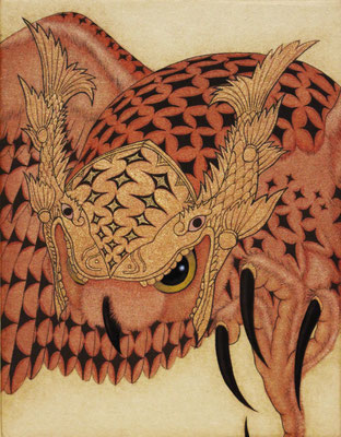 owl warrior -KINSYACHI-  2016 F0 神宮紙、植物染料、顔料