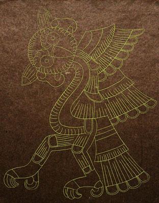 mayan owl  2015 320×250 樹脂版エングレーヴィング