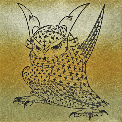 owl warrior -BATTOU- (kogane1)  2017 120×120 エッチング