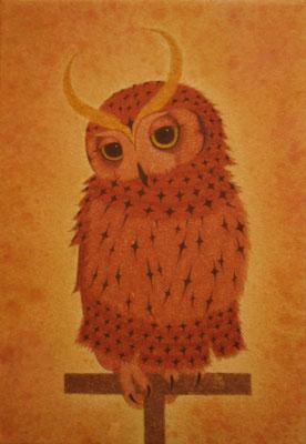 owlet warrior  2014 SM 土佐麻紙、植物染料、顔料