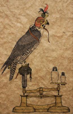 egyptian falcon  2015 470×312 樹脂版ドライポイント、手彩色 雁皮紙(ブータン)、水性インク