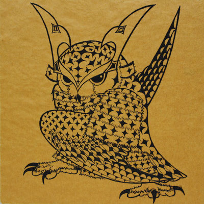 owl warrior -BATTOU-(yamabuki)  2017 120×120 エッチング