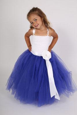 Robe de cérémonie enfant, Bleue & Blanche