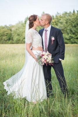Zweiteiliges Brautkleid mit Spitzentop