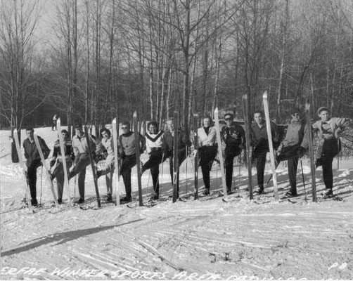 According to Don, this may be a picture of the first Ski Patrol at Caberfae. Don is pictured third from the right. The guy on the far right is John Kelly.