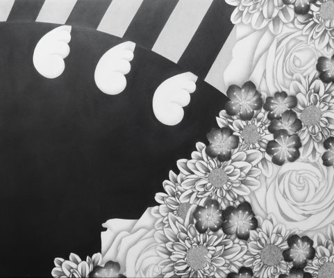 作品名:果てなき勇者 素材:木製パネル/ケント紙/鉛筆 サイズ:F8号 45.5㎝×38.0㎝ 作成:2017年