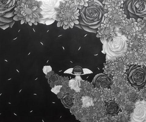 作品名:名もなき作品 素材:木製パネル/ケント紙/鉛筆 サイズ:F8号 45.6㎝×38.2㎝ 作成:2018年