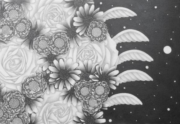 作品名:スノーホワイトⅡ 素材:木製パネル/ケント紙/鉛筆/アクリル絵具(修正箇所のみ) サイズ:SM22.7㎝×15.8㎝ 作成:2018年