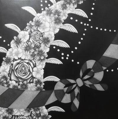 作品名:祝 素材:木製パネル/ケント紙/鉛筆/修正箇所のみアクリル絵具 サイズ:S6号 41.0㎝×41.0㎝ 作成:2017年