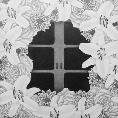 作品名:窓 素材:木製パネル/ケント紙/鉛筆 サイズ:S6号 41.0㎝×41.0㎝ 作成:2016年