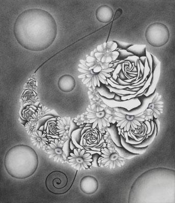 作品名:JewelryⅡ 素材:鉛筆/木炭紙/木製パネル/パステル/アクリル絵の具 サイズ:F10号 縦53.0㎝×横45.5㎝ 作成:2015年