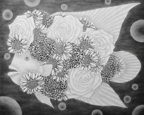 作品名:幸せを呼ぶ魚 素材:木製パネル/ケント紙/鉛筆     サイズ:F30号縦22.7㎝×横15.8㎝ 作成:2016年