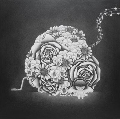 作品名:愛を奏でるオルゴール 素材:木製パネル/ケント紙/鉛筆 サイズ:S4号 33.3㎝×33.3㎝ 作成:2016年