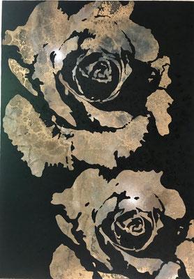 100x70 cm  Resin und Pigment material auf Holz  2.450 CHF