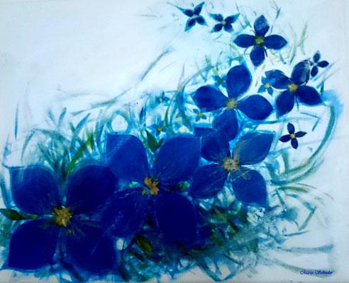 fleurs bleues/tableau envol de fleurs/acrylique- aquarelle-collage