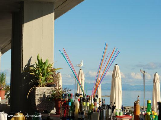 .....danach haben wir unser Restaurant gefunden, an der Promenade, die Möwe betrachtet die Cocktail bar, na dann Prost....