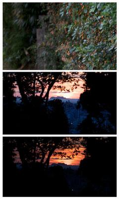 88-0009 輝く夕陽 黒島のシルエット 末吉山より