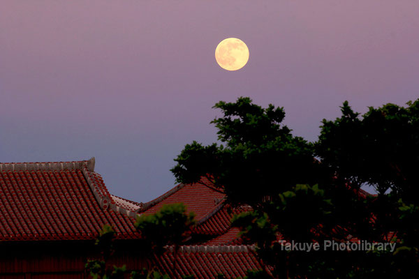 07c-0016 首里城と満月