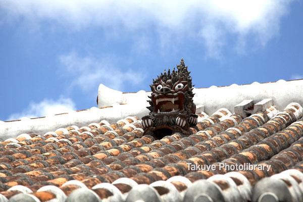 06f-0002 最も有名なのは、瓦屋根に鎮座する漆喰シーサーです。